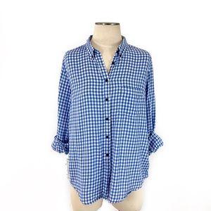 Gap- Blue Gingham Cotton Button Down Shirt Size L